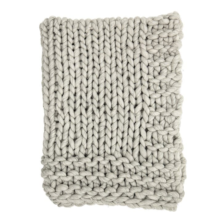 Chunky Knit Wool Throw, Grey
