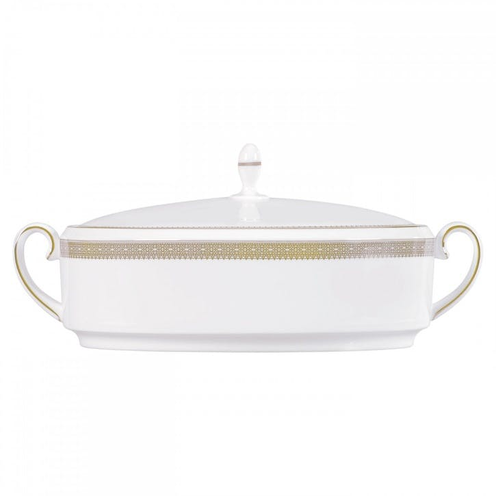 Lace Gold Lidded Vegetable Dish