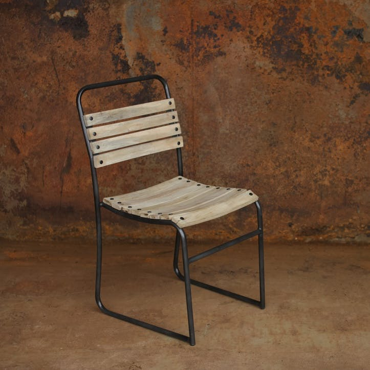 Dema Wooden Chair; Mango Wood & Iron