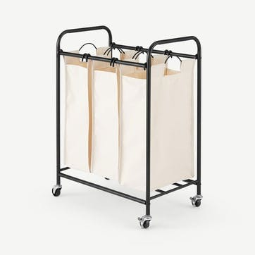 Moss, 3 Section Laundry Cart, Beige