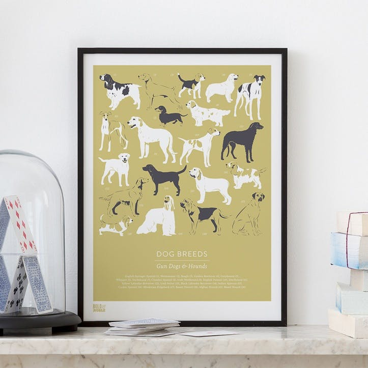 Dog Breeds Gun Dogs & Hounds Screen Print, 30cm x 40xm, Light Straw