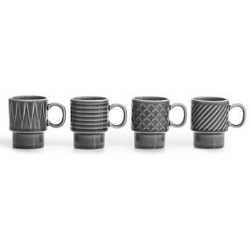 Coffee & More, Espresso Mug, Set of 4 Grey