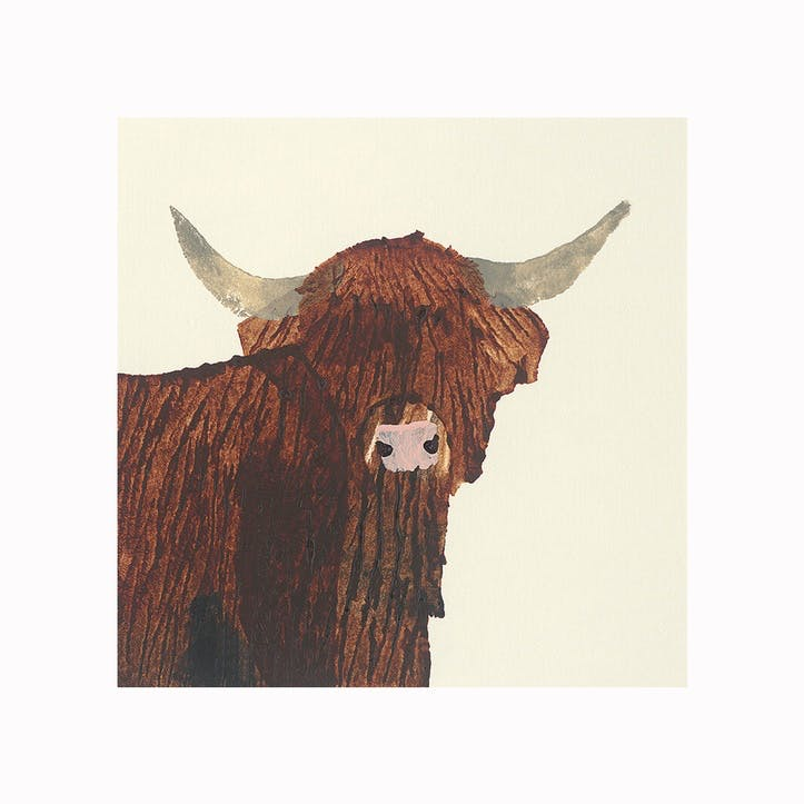 Julia Burns Highland Cow Canvas Print - 60 x 60cm