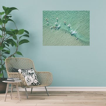 Crystal Clear Waters with Surfers ChromaLuxe Metal Print, H51 x W76cm, Multi