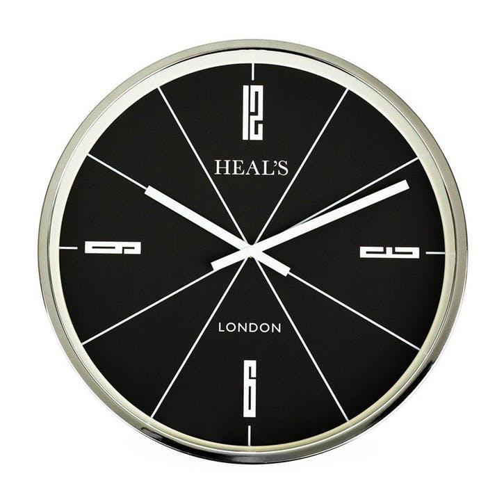 Retro Wall Clock, 45cm, Black & Aluminium