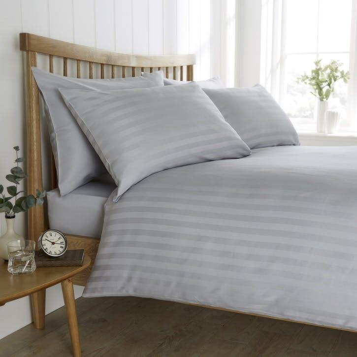 Heritage Sateen Stripe Bedding Set, King, Grey