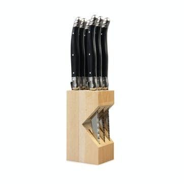 Steak Knives In Wooden Block, Black, 6 Piece