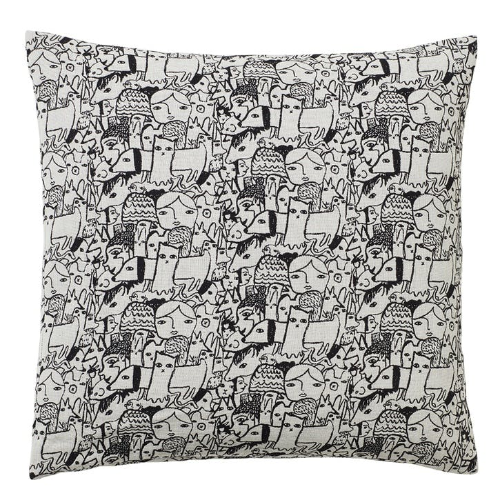 Folk Woven Square Cushion, Black & White