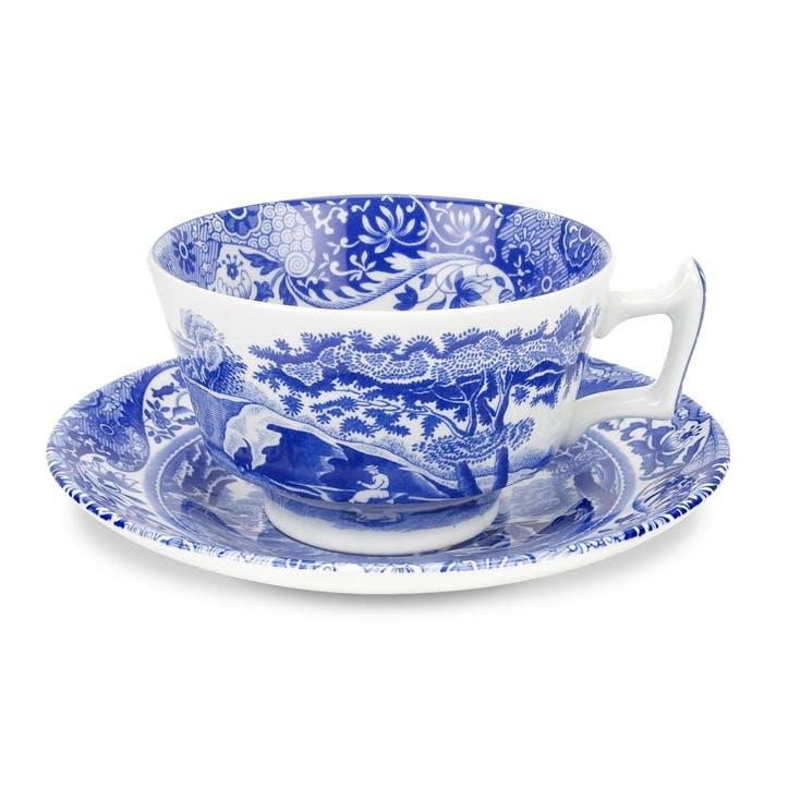 Blue Italian Teacups & Saucers, Set of 4