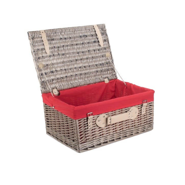 "20"" Antique Wash Hamper with Red Lining"