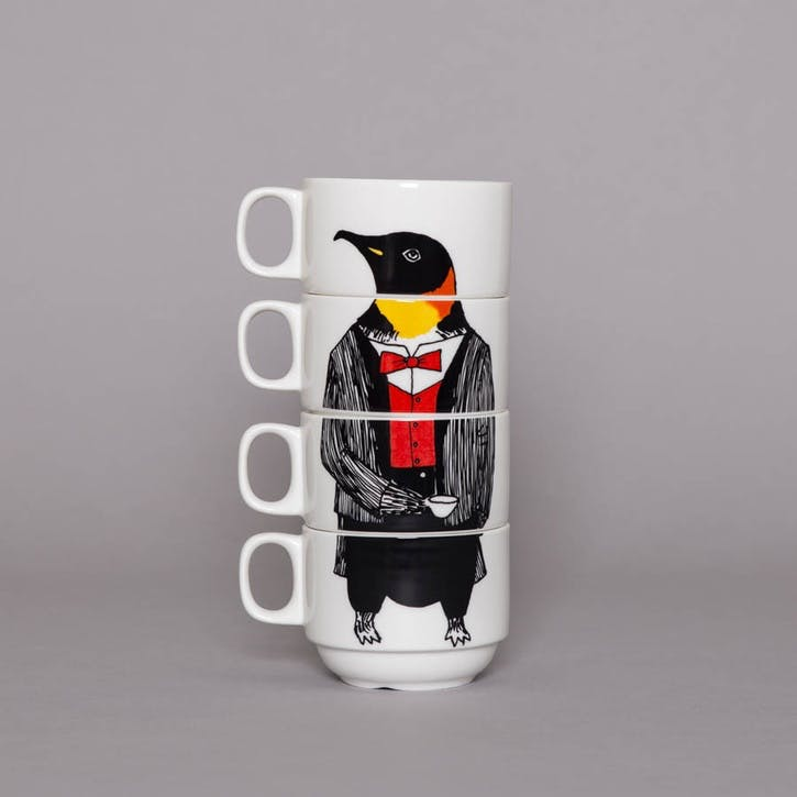 'Mr Penguin' Coffee Cup Set