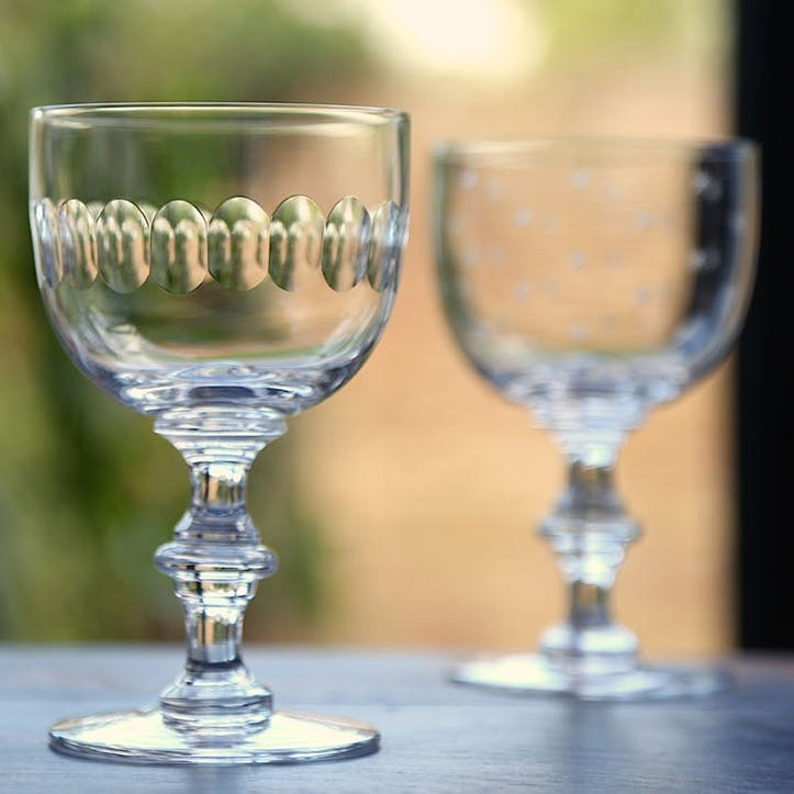 Lens Patterned Crystal Wine Goblets, Set of 6