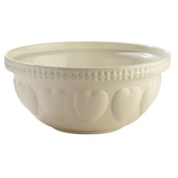 Hearts Mixing Bowl - 29cm; Cream