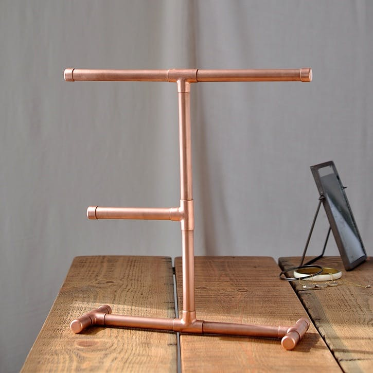 Industrial Copper Jewellery Stand - 33 x 28cm; Copper