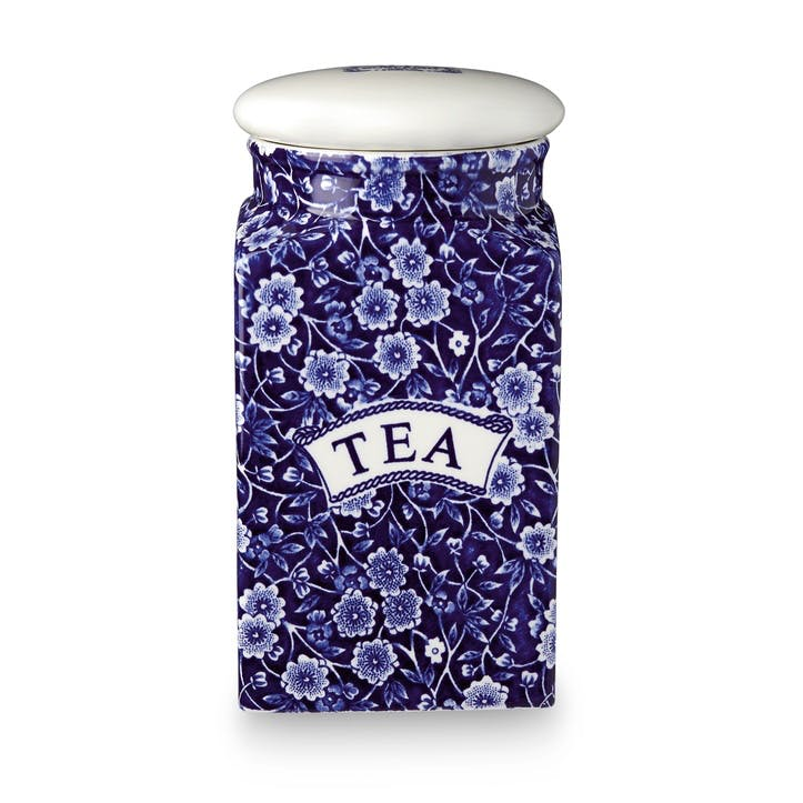 Calico Square Tea Storage Jar, 18cm, Blue