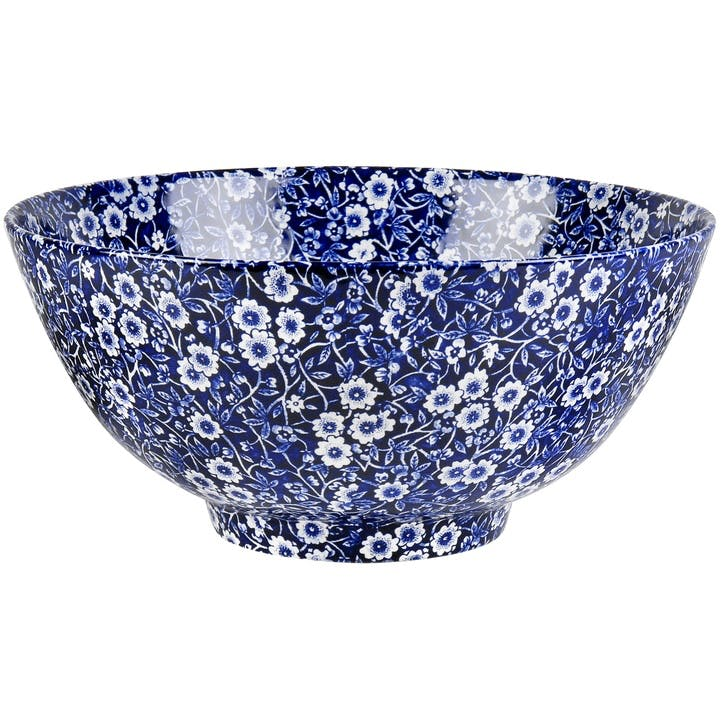 Calico Footed Bowl, Large, Blue