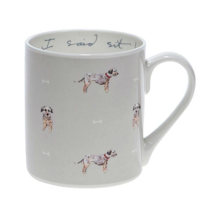 Terrier I Said Sit! Mug - Standard; Grey