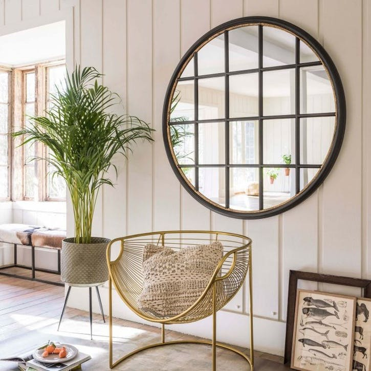 Circular Window Pane Mirror