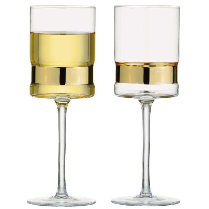 SoHo Gold Wine Glasses, Set of 2