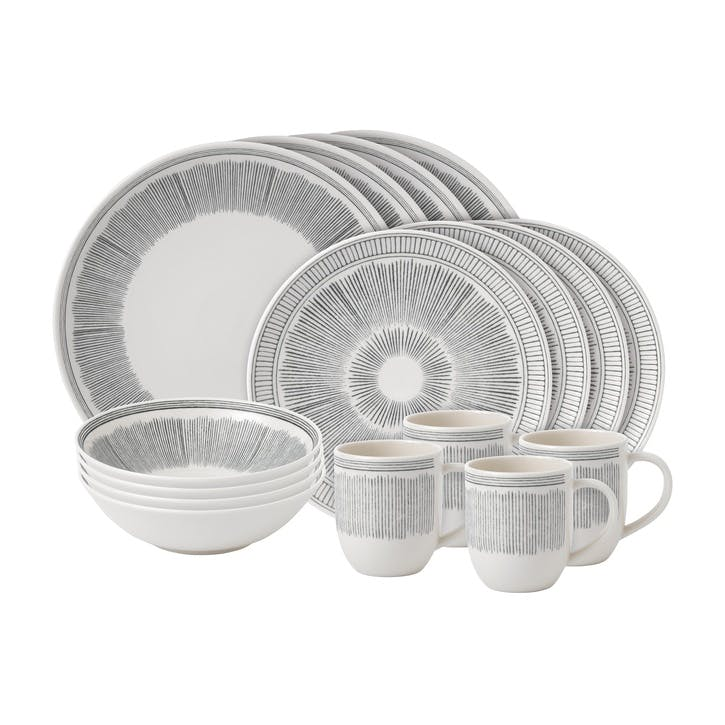 ED Ellen DeGeneres 16 Piece Dinner Set, Charcoal Grey Lines