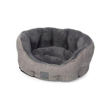 Grey Hessian Oval Snuggle Bed, XSmall