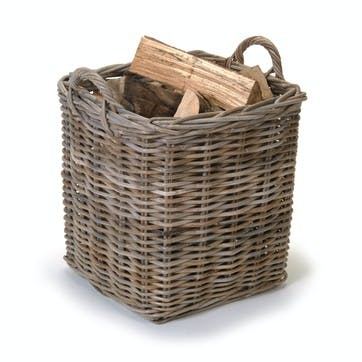 Rattan Set of 2 Square Log Baskets