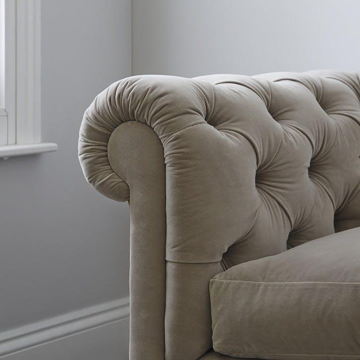 Hampstead Three Seat Sofa, Stone Velvet
