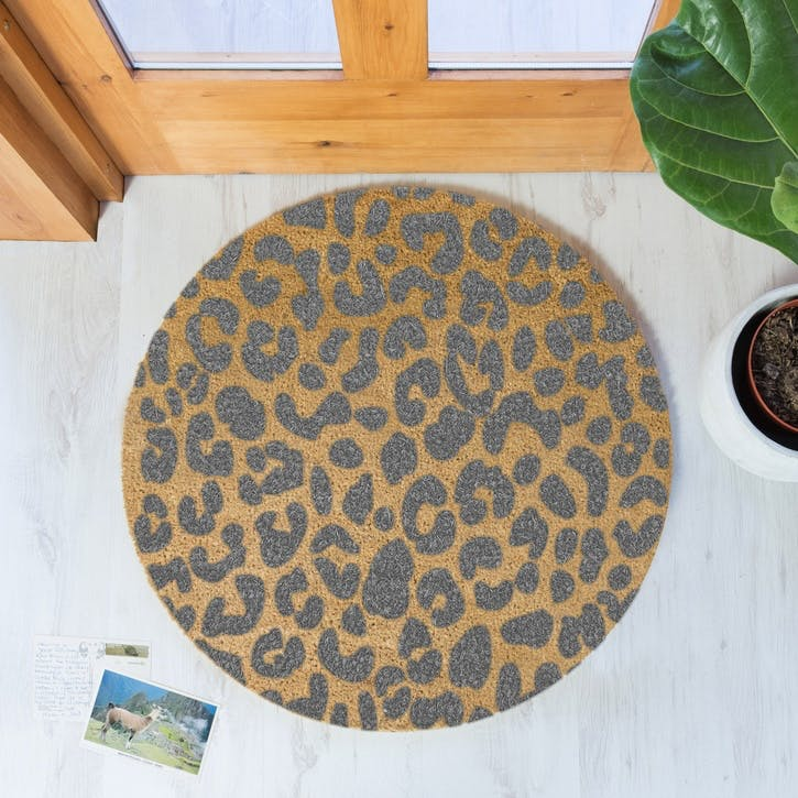 Leopard Circle Doormat, Grey