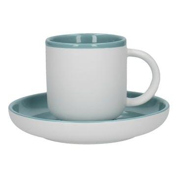Barcelona Espresso Cup and Saucer, Retro Blue