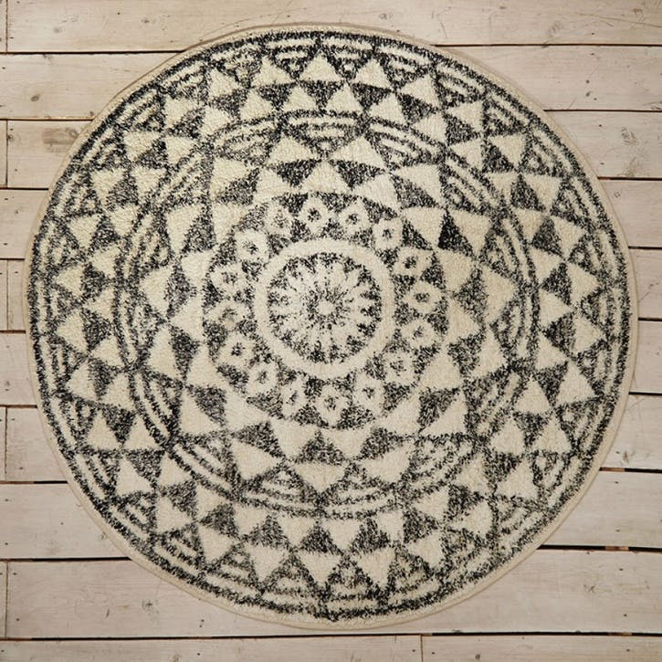 Round Geometric Bath Mat, Small