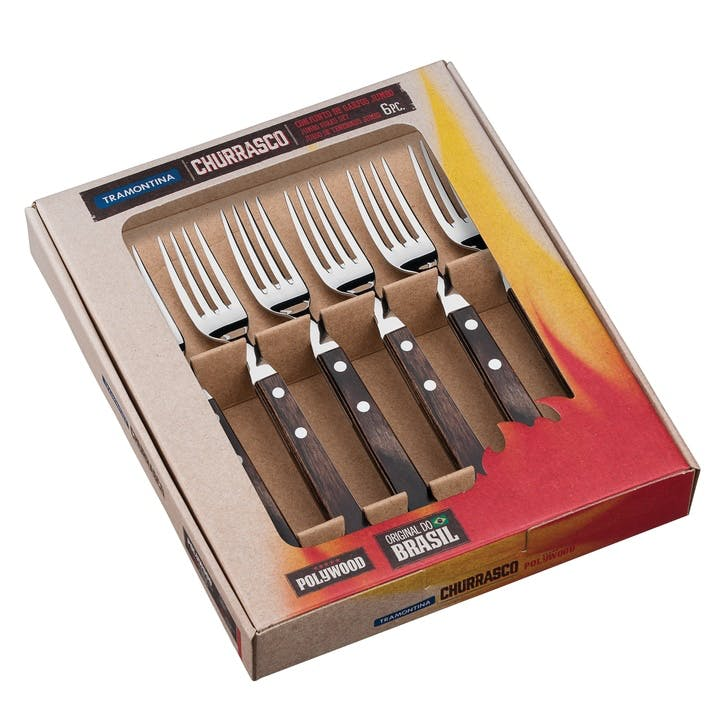 Jumbo Steak Forks Set, 6 Piece, Brown