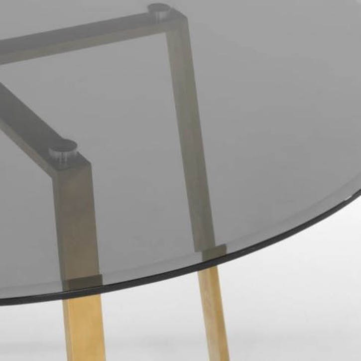 Haku Dining Table, Brass and Smoke Glass