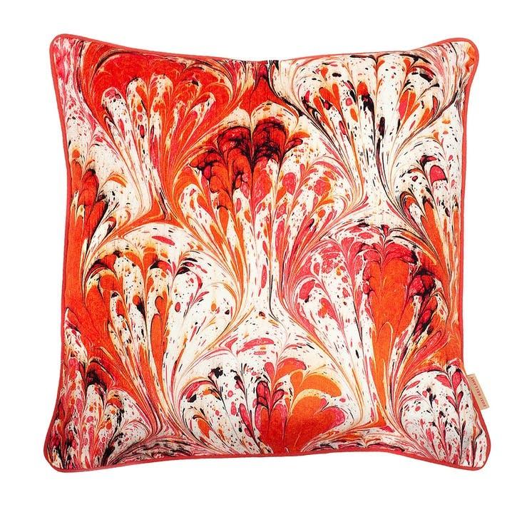 Orange Feathered Marble, Square Velvet Cushion, H49 x W49cm