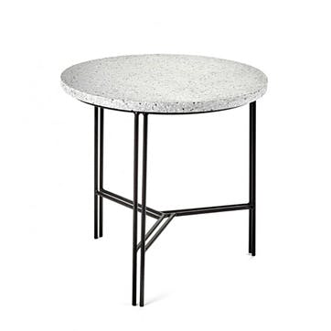 Metal, Small Marble Table, White