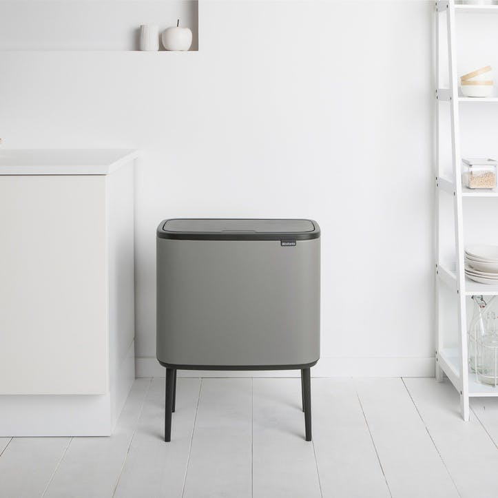 Bo Recycling Bin with 3 Inner Buckets, Mineral Concrete Grey