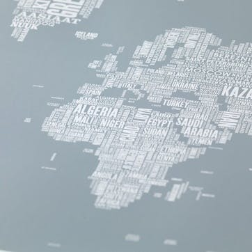 Type Map Screen Print World, 100cm x 70cm, Warm Grey