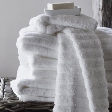 Hydrocotton Ribbed Towel, Hand Towel, White