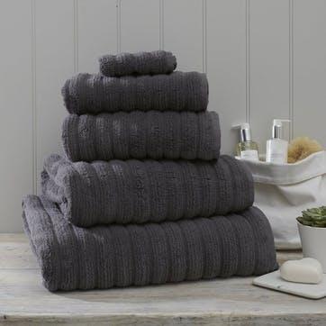 Hydrocotton Ribbed Towel, Bath Sheet, Slate