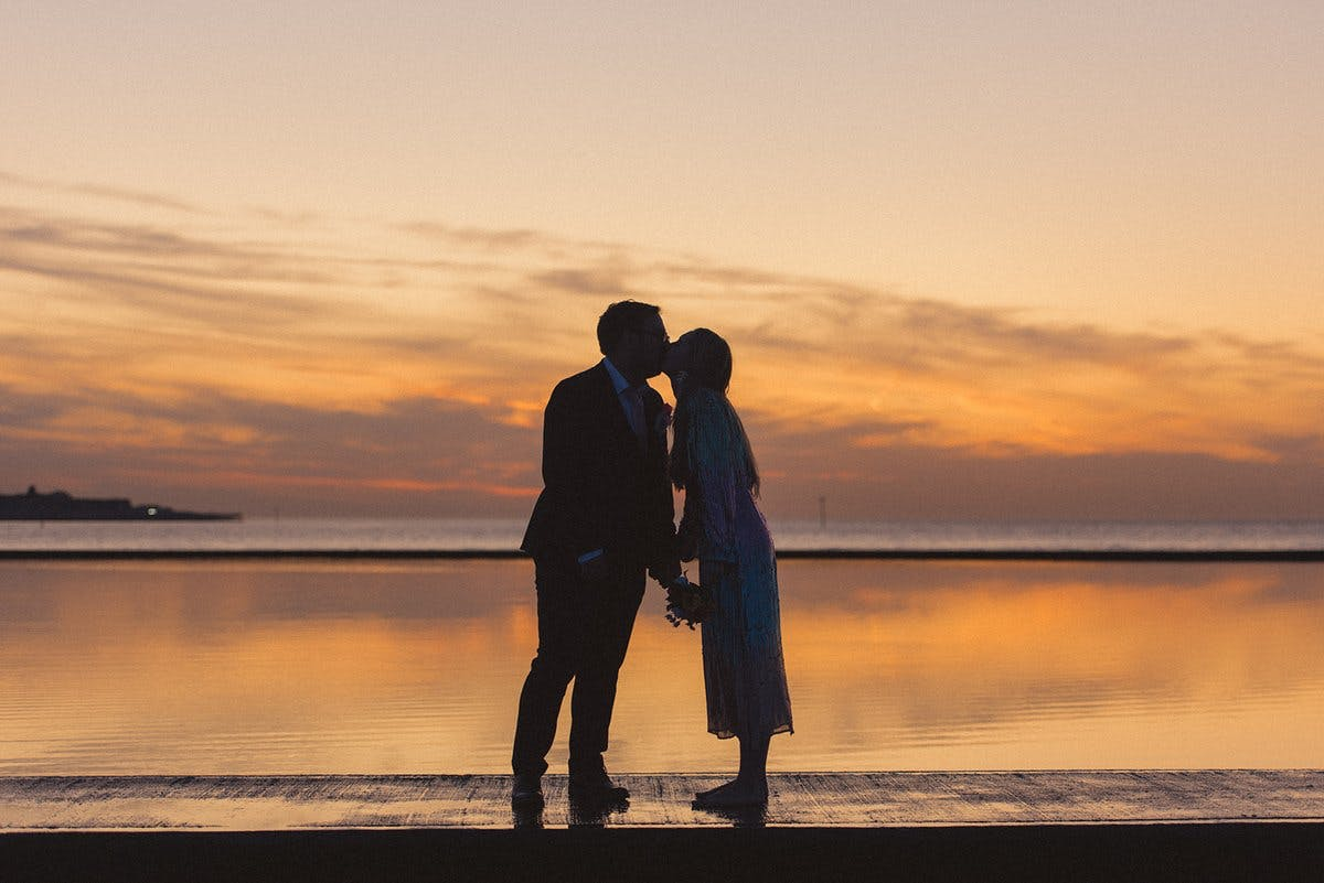 Real couple sunset