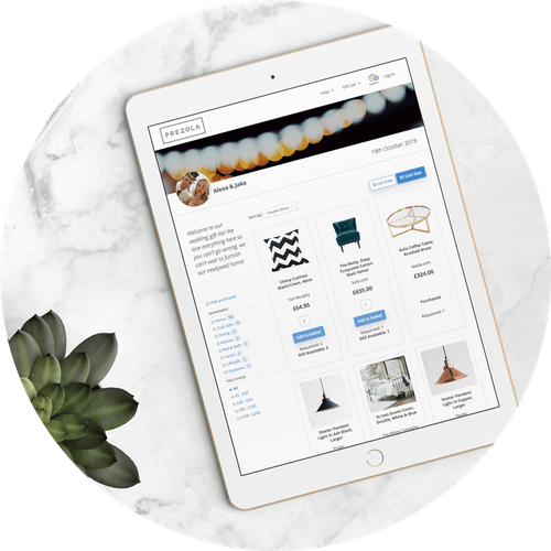 Prezola online wedding gift list on ipad