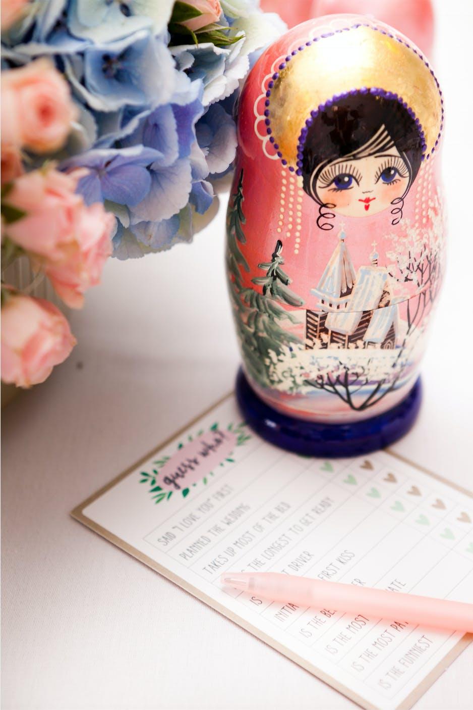 Russian doll wedding detail